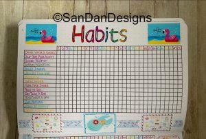 Habit tracker by the pool theme